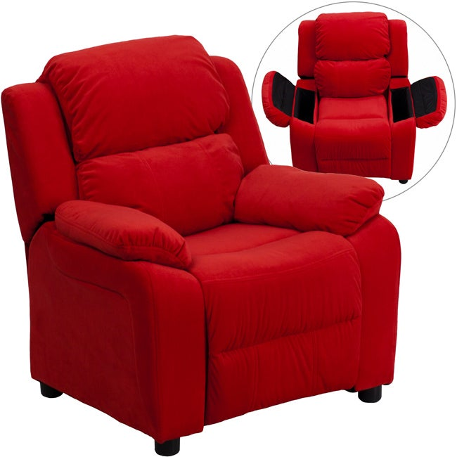 Deluxe Heavily Padded Contemporary Red Microfiber Kids Recliner with Storage Arms