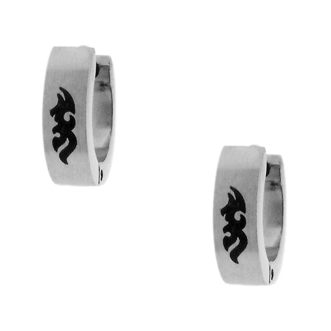 Stainless Steel Men's Urban Tribal Design Hoop Earrings