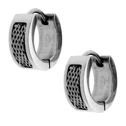 Stainless Steel Rope Bar Cuff Hoop Earrings with Clip-in Clasps