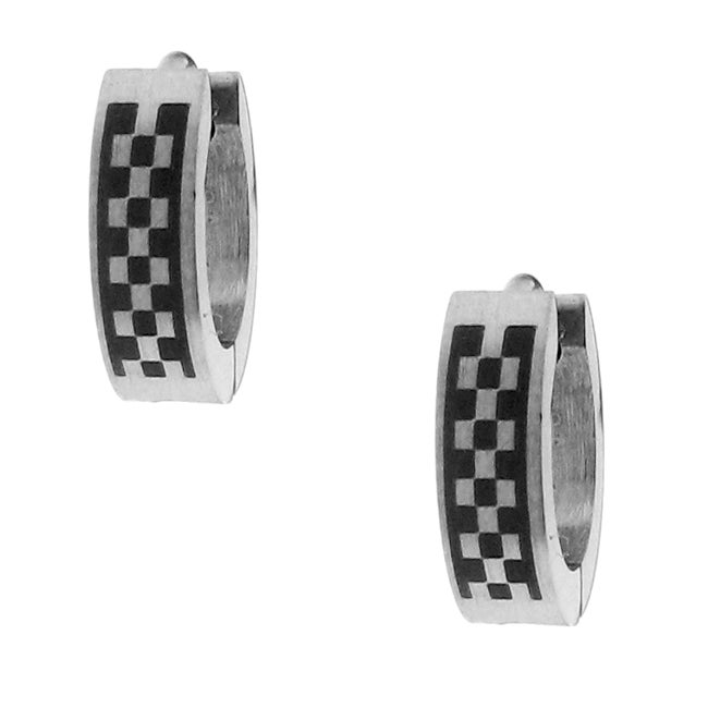 Two-tone Stainless Steel Men's Checkerboard Hoop Earrings