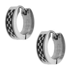 Two-tone Stainless Steel Men's Checkerboard Hoop Earrings - Thumbnail 1