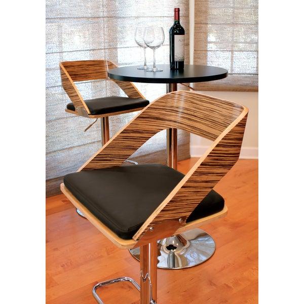 Vuno Mid-century Modern Zebra Wood Adjustable Barstool