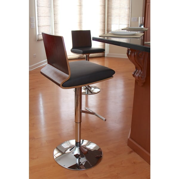 Koko Mid-century Modern Walnut Wood Adjustable Barstool