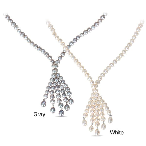 Miadora White or Grey Cultured Freshwater Pearl Tassel Necklace (6-6.5 mm)