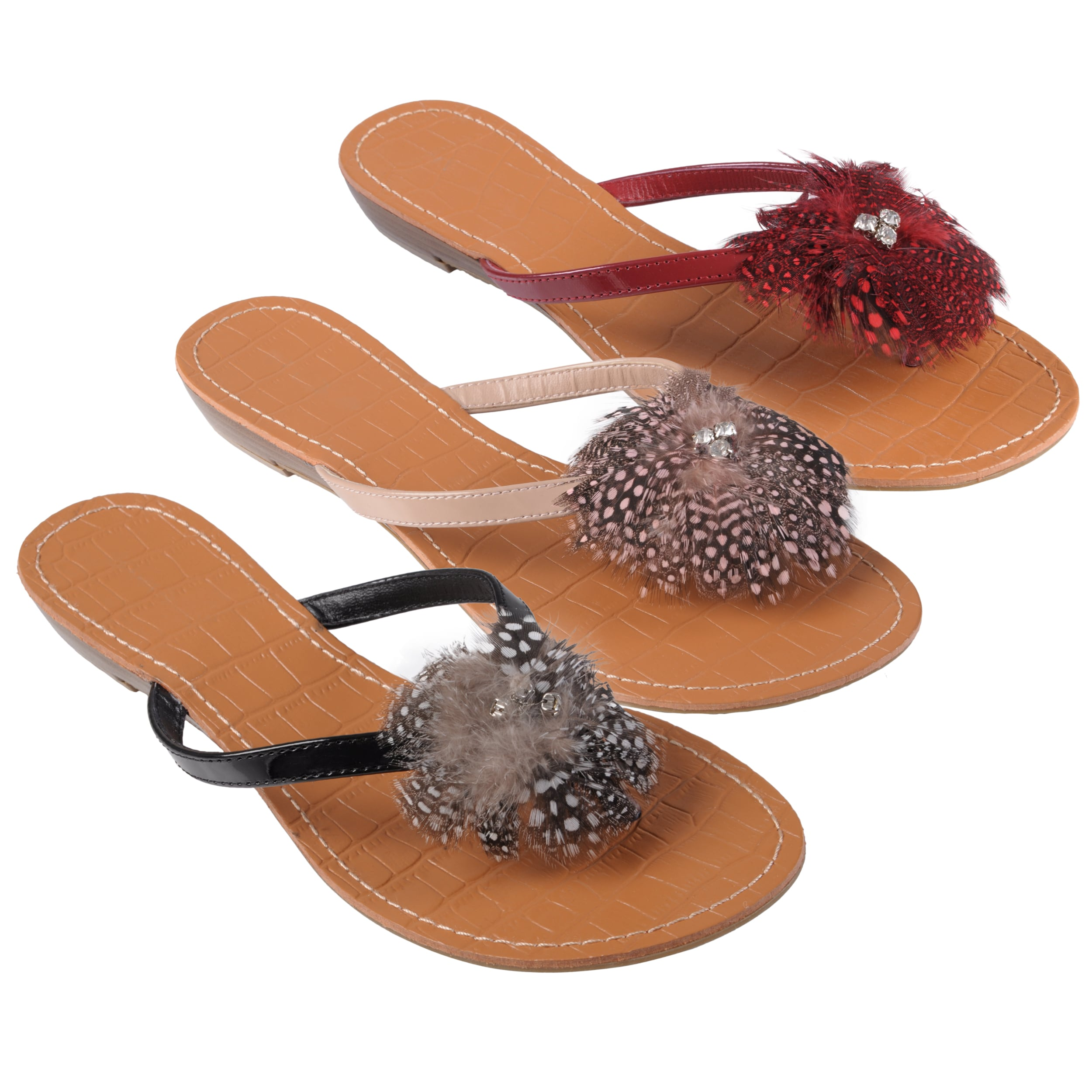 Journee Collection Women's 'Foal-25' Feather Thong Sandals