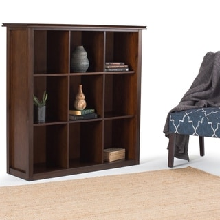 "WYNDENHALL Stratford Solid Wood 45 inch x 43 inch Contemporary 9 Cube Bookcase and Storage Unit - 43.2""w x 15""d x 44.6"" h"