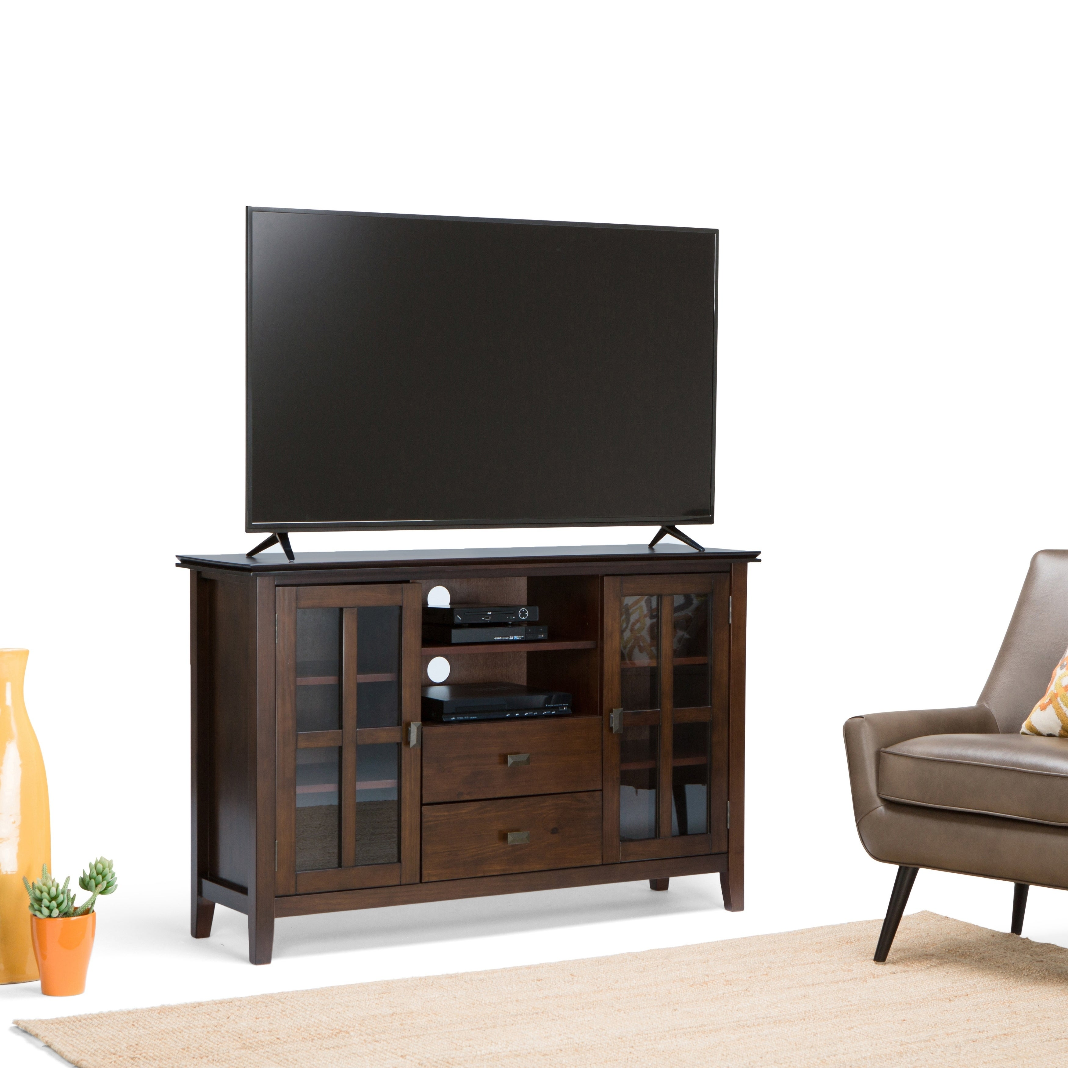 cheap for discount d831e 82726 WYNDENHALL Stratford Solid Wood 53 inch Wide Contemporary TV Media Stand  For TVs up to 55 inches - 47