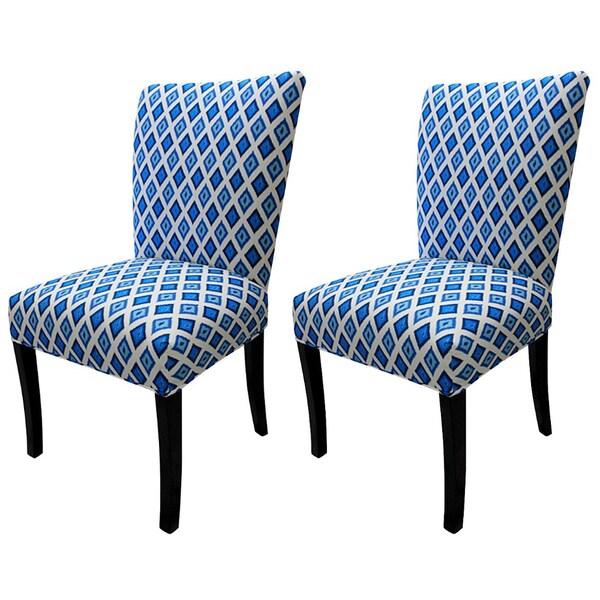 Julia Carnival Blue Fan Back Chairs (Set of 2)