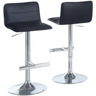 Black/ Chrome Hydraulic Lift Barstools (Set of 2)