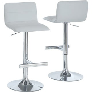 White/ Chrome Hydraulic Lift Barstools (Set of 2)