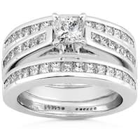 Annello by Kobelli 14k Gold 2ct TDW Diamond 3-piece Bridal Ring Set