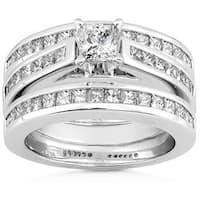 Annello by Kobelli 14k Gold 2ct TDW Diamond 3-piece Bridal Ring Set