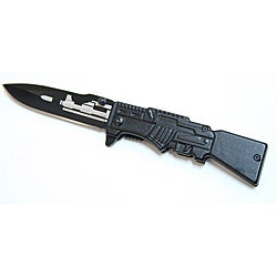 Defender Black Gun Design 8-inch Steel Pocket Knife - Thumbnail 0
