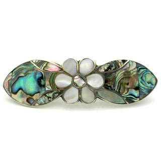 Handmade Mother of Pearl Inlaid Daisy Hair Barrette (Mexico)