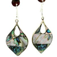 Handmade Tear Drop Mother of Pearl Inlaid Silver Earrings (Mexico)