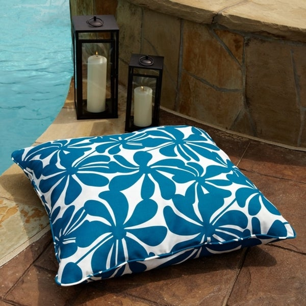 Penelope Blue/ White 26-inch Square Outdoor Floor Pillow