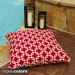 Penelope Red 26-inch Square Indoor/ Outdoor Floor Pillow - Free ...