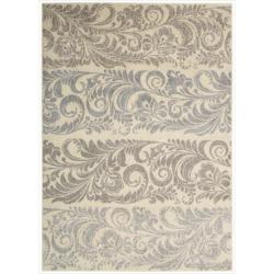 Nourison Utopia Ivory Abstract Rectangular Rug - 9'6 x 13' - Thumbnail 0