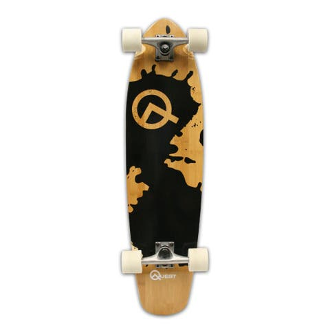 Quest Rorshack Mini Longboard with a Black Splash Design on the Deck