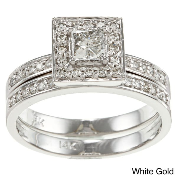 Auriya 14k Gold 1/2ct TDW Princess Diamond Bridal Ring Set
