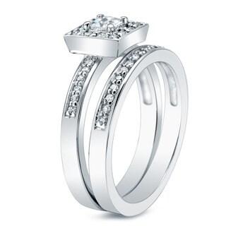 Auriya 14k Gold 1/2ct TDW Princess-Cut Diamond Bridal Ring Set