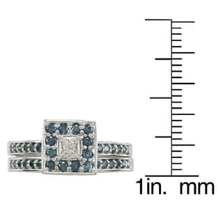 Auriya 14k Gold 1/2ct TDW Princess Blue and White Diamond Bridal Ring Set (H-I, I1)