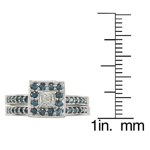 Auriya 14k Gold 1/2ct TDW Princess-Cut Blue and White Diamond Bridal Ring Set