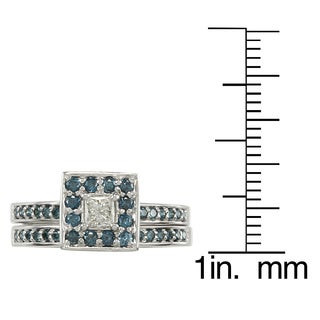 Auriya 14k Gold 1/2ct TDW Princess Blue and White Diamond Bridal Ring Set