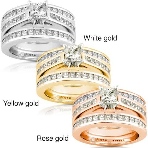 Annello by Kobelli 14k Gold 2 1/3ct TDW Diamond 3-piece Bridal Ring Set