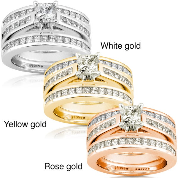 Annello by Kobelli 14k Gold 2 1/3ct TDW Diamond 3-piece Bridal Ring Set