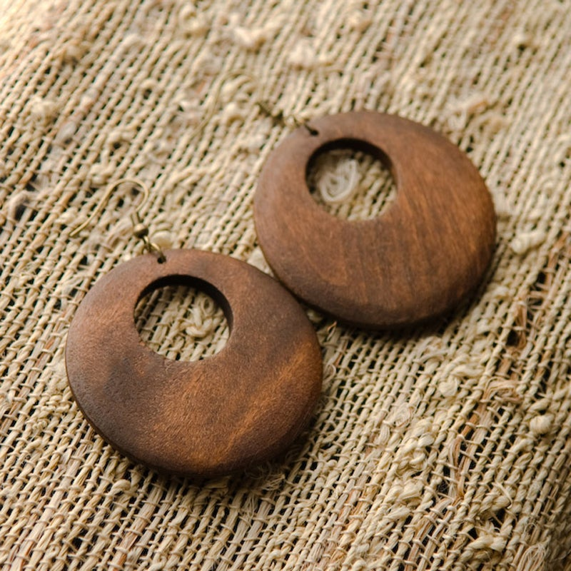 Wood Hoop Earrings (China)