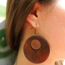 Wood Hoop Earrings (China) - Thumbnail 1