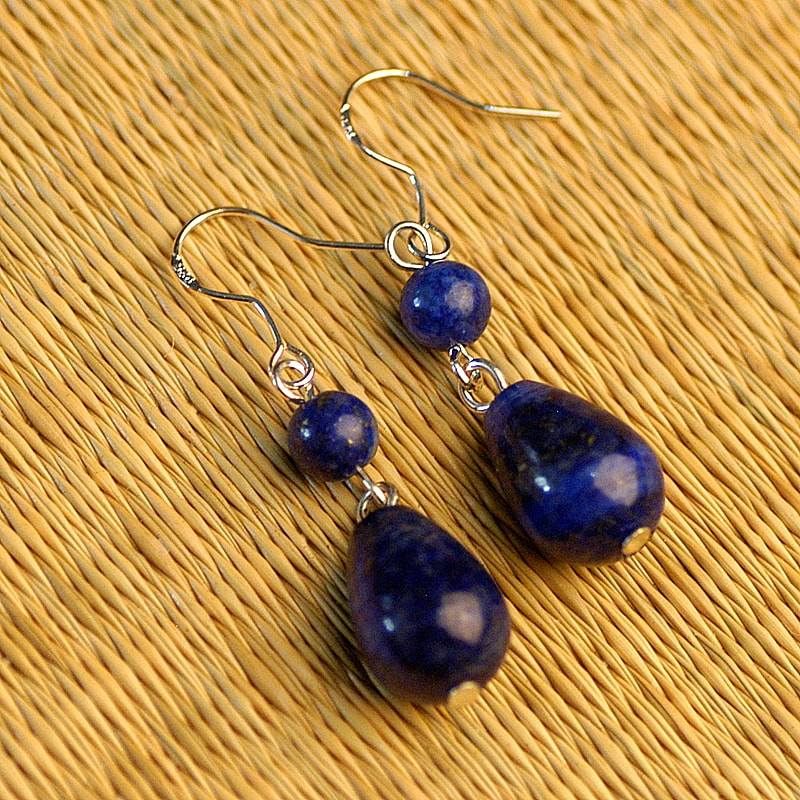 Lapis Lazuli Beaded Dangling Earrings (China) - Thumbnail 0