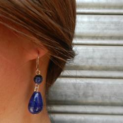 Lapis Lazuli Beaded Dangling Earrings (China) - Thumbnail 1