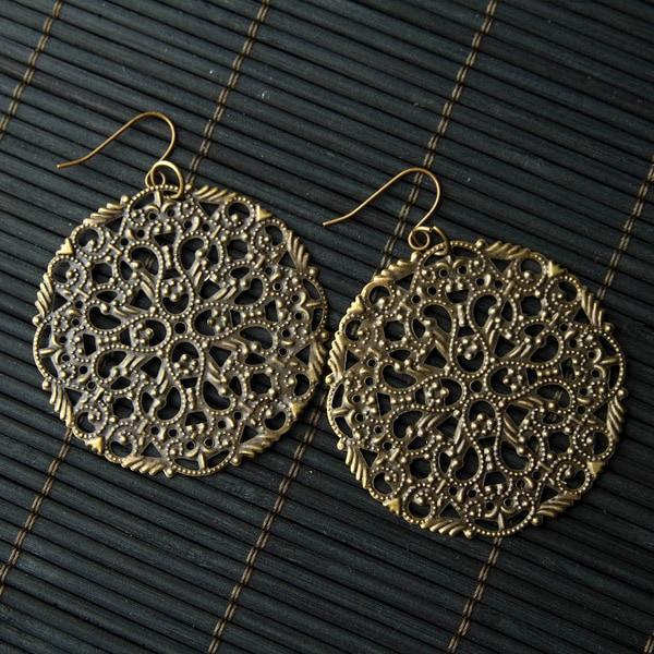 Handmade Circular Brass Metal Lattice Pendant Earrings (China)