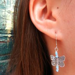 Girl's Light Blue Butterfly Pendant Earrings (China)