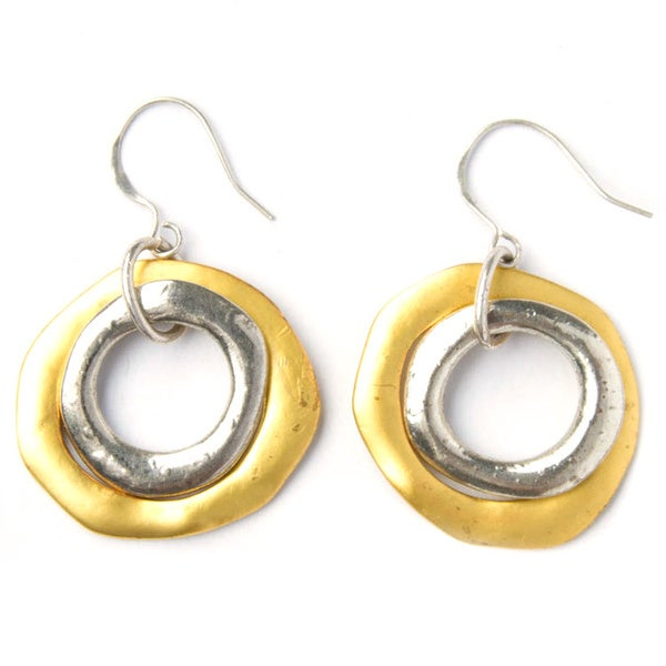 Handmade Gold and Silver Hammered Double Hoop Metal Earrings (China)