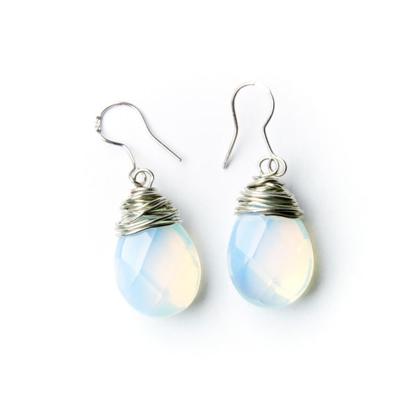 Handmade Teardrop Moonstone Bead Earrings on Sterling Silver Hooks (China)