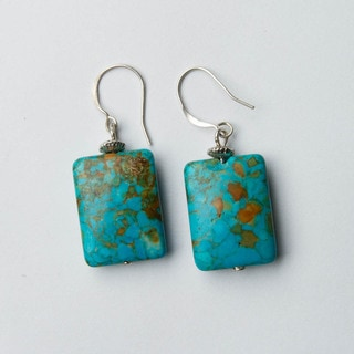 Speckled Turquoise Rectangular Stone Earrings (China)