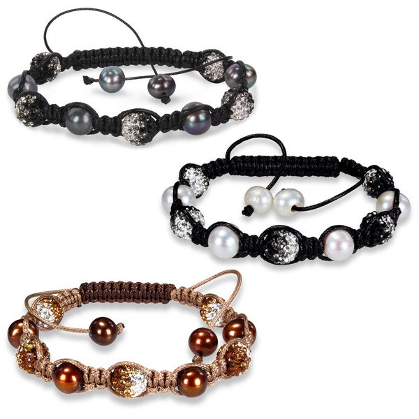 M by Miadora Freshwater Pearl and Cubic Zirconia 8-inch Macrame Bracelet (9-10 mm)