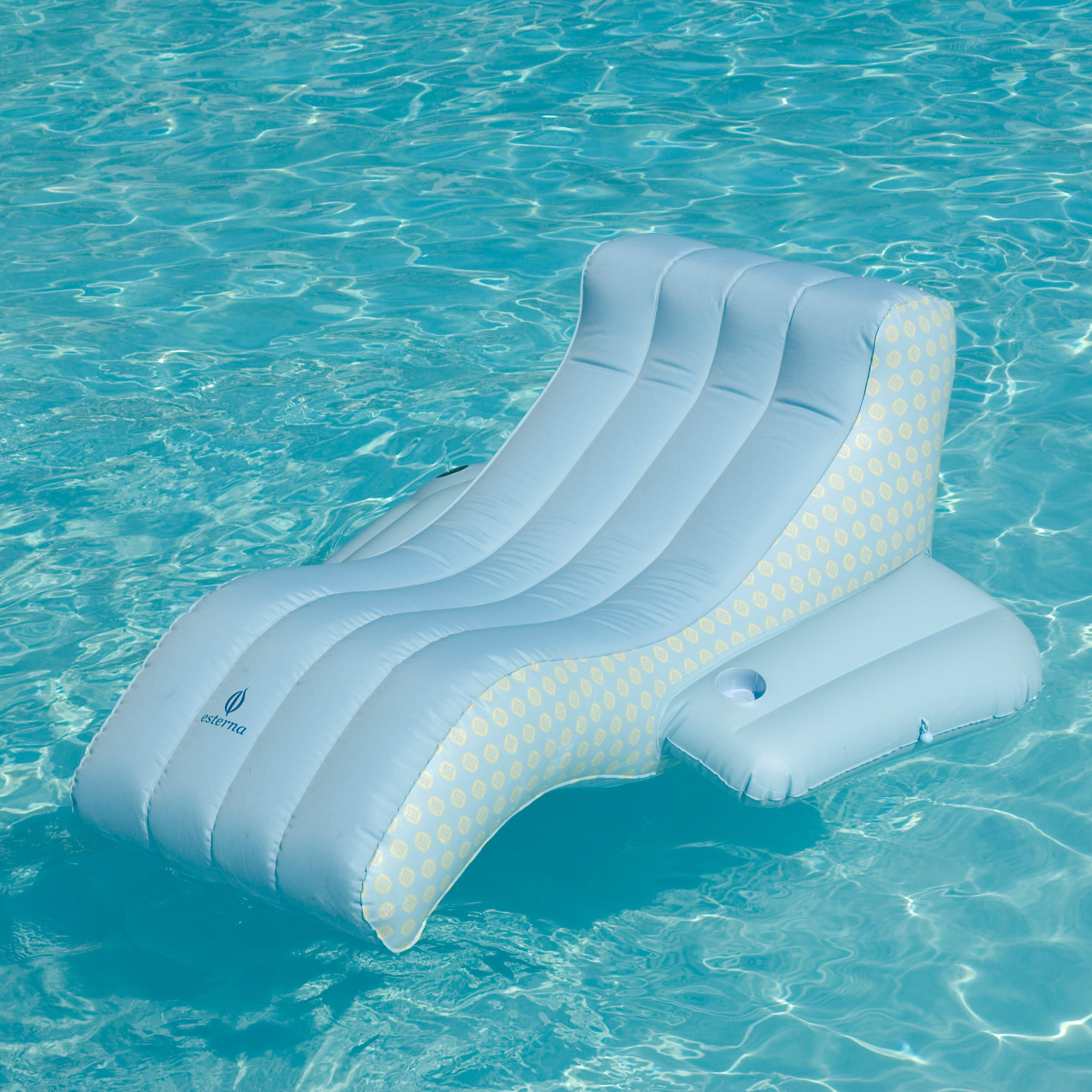 Blue Polyester Zero gravity Pool Lounger with Armrests and Cup Holder Free Shipping Orders