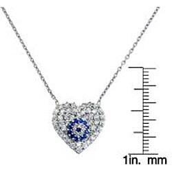 Eternally Haute Sterling Silver Cubic Zirconia Evil Eye Heart Necklace - Thumbnail 2