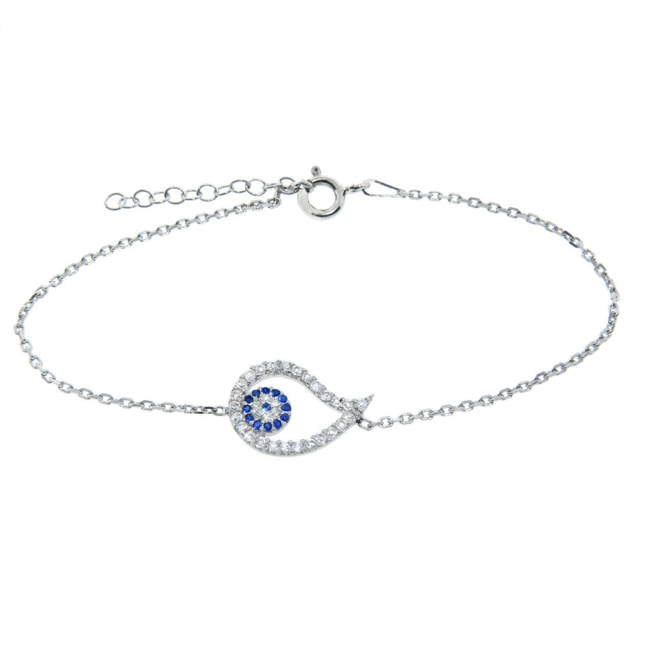 Eternally Haute Sterling Silver CZ Evil Eye Teardrop Bracelet