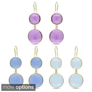 Miadora Gold Overlay Synthetic Gemstone Dangle Earrings
