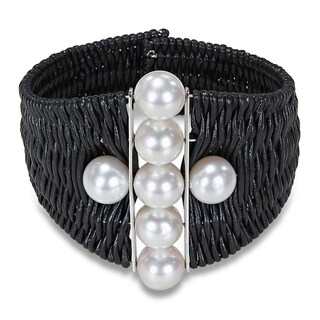 Catherine Catherine Malandrino Leather Cord Freshwater Pearl Cuff Bracelet (9-10 mm)
