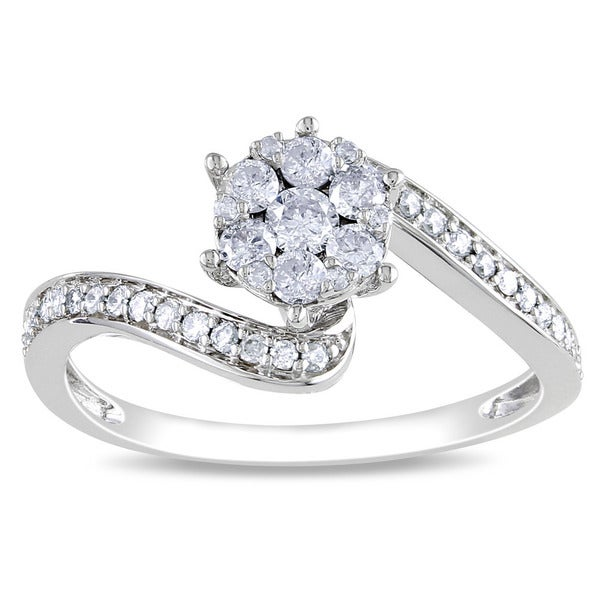 Miadora 14k White Gold 1/3ct TDW Multi Stone Round Cut Diamond Ring