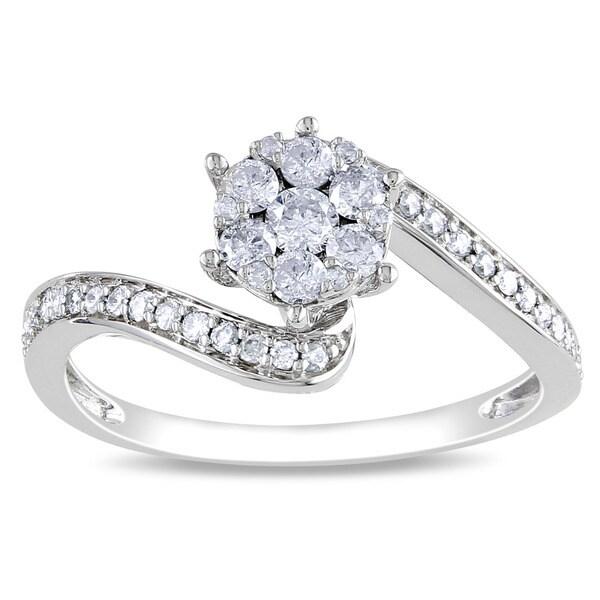 Miadora 14k White Gold 1/3ct TDW Multi Stone Round Cut Diamond Ring (H-I, I1-I2)