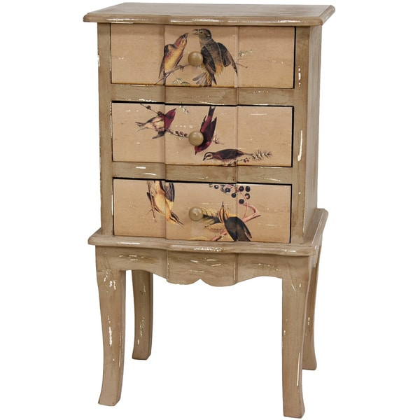 Rustic Peaceful Birds Three-drawer End Table (China)