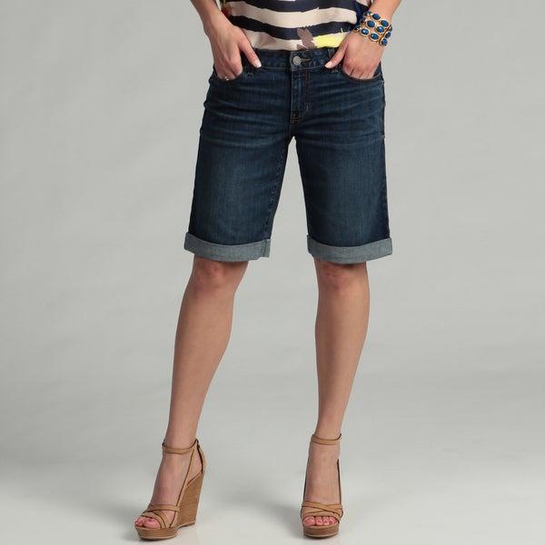 Calvin Klein Jeans Womens Rolled Cuff Denim Bermuda Shorts