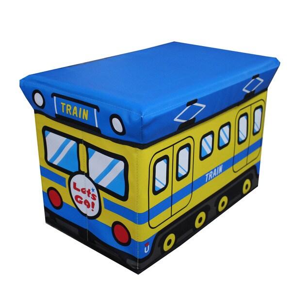 Children's Large Blue Folding Storage Ottoman